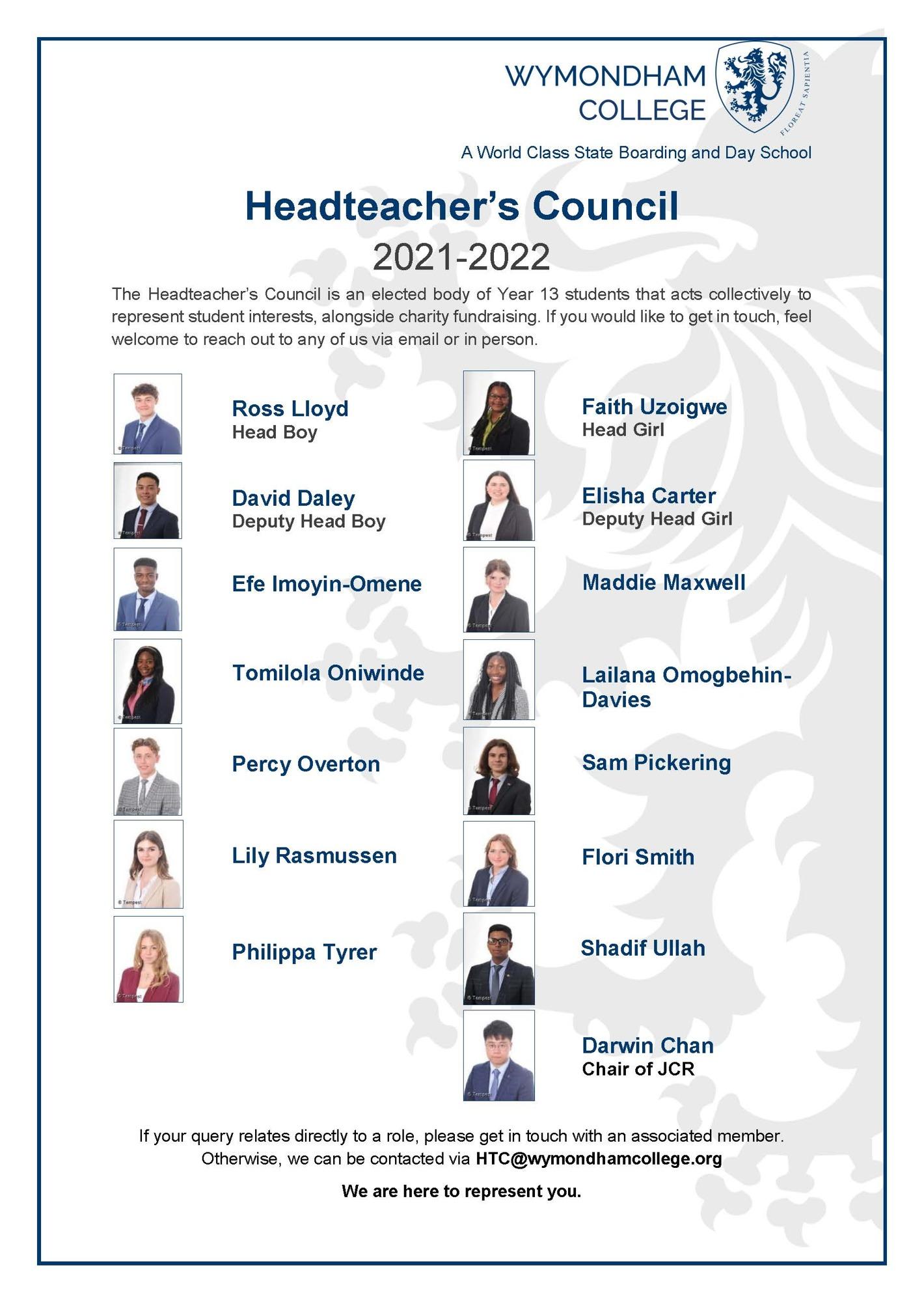 Headteacher's Council poster 2021 22